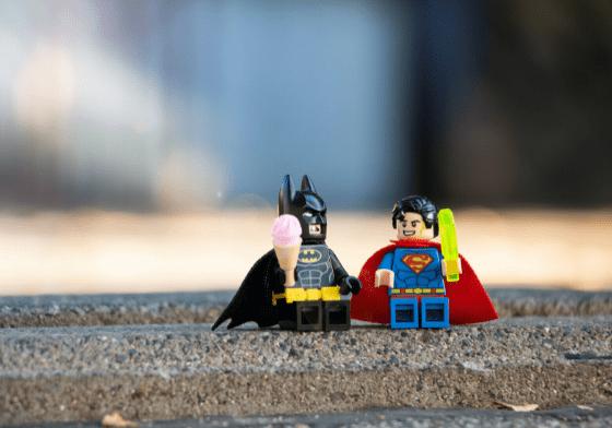 Lego batman and lego superman eating lego ice creams